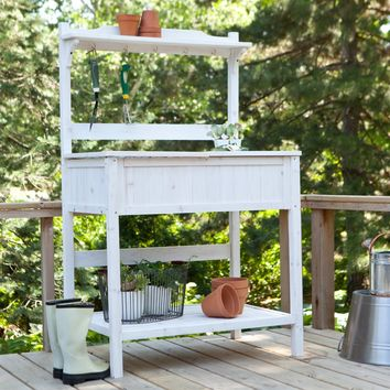 White Potting Bench Home Gardening Station with Storage