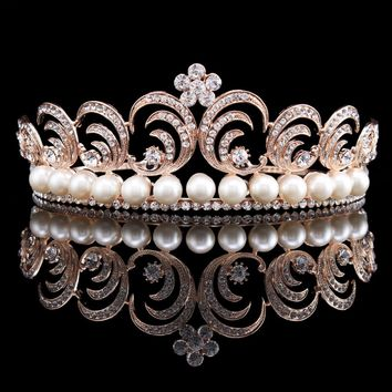 Vintage Wedding Bride Crystal Rhinestone Flower Leaf Simulated Pearl Rose Gold Color Crown Tiara Headband HG00263