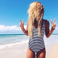 Sexy Black White Striped Women One Piece Swimsuit High Cut Bandeau monokini Backless Bathing Suit Padded Strap Swimwear