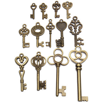 13pcs Antique Vintage Old Look Skeleton Key Lot Set Pendant Heart Bow Lock Steampunk Jewel