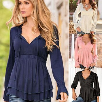 Women Boho V Neck Long Sleeve Tee Shirts Loose Peplum Tops T Shirts Tunic Blouse