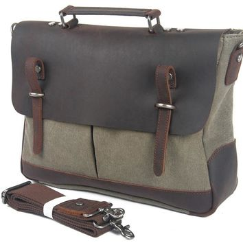 New Fashion Genuine Leather Canvas Men's Briefcase Bag