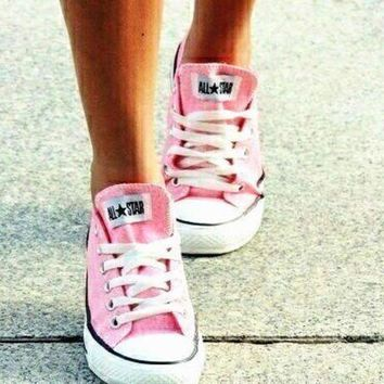 CREYUG7 Converse All Star Sneakers canvas shoes for Unisex sports shoes Low-top pink