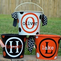 Personalized Halloween Name and Initial  Bucket