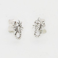 Scorpion Stud Earrings Sterling Silver 10mm