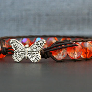 butterfly bracelet - monarch butterfly jewelry - wrap bracelet - orange crystal on black brown leather - glam bohemian