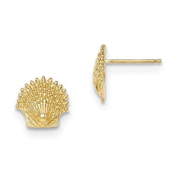 14k Yellow Gold Polished & Textured Beaded Scallop Shell Post Earrings