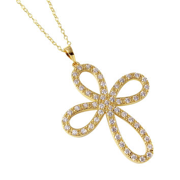 .925 Sterling Silver Gold Plated Open Infinity Round Cross Necklace 18 Inches