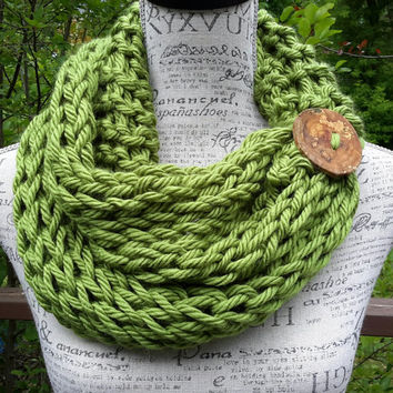 Knit chunky green button cowl. Avocado Green.  chunky scarf. Made by Bead Gs.