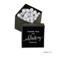 Andaz Press Mini Square Party Favor Box DIY Kit, Thank You for Celebrating With Us, Black, 20-Pack,...