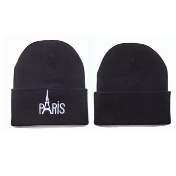 Paris Beanie Womens & Mens Warm Winter Knitted Black Cuffed Skully Hat