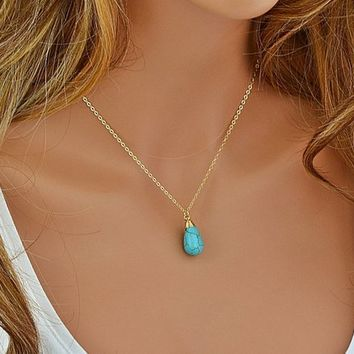 Turquoise Necklace, Turquoise Necklace Pendant, Turquoise Howlite Necklace, Gemstone Necklace Gold, Silver, Rose Gold