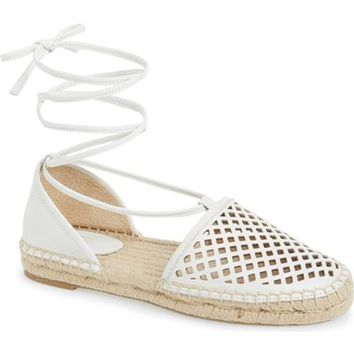 Frye 'Leo' Perforated Ankle Wrap Espadrille Flat (Women) | Nordstrom