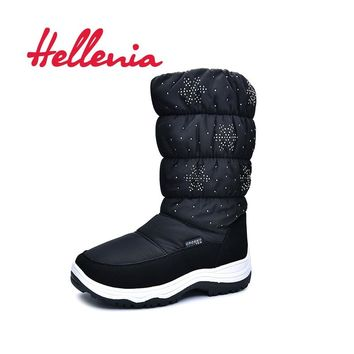Hellenia Snow Boots 2018 Classic Heels Suede Women Winter boots warm Fur Plush Insole ankle Boots Women Shoes Hot Lace-up shoes