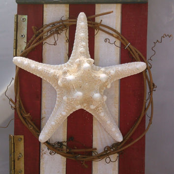 Starfish Sign - Distressed Wood Starfish Sign - Coastal Wall Decor - Beach House Art - Patriotic Sign For Front Door