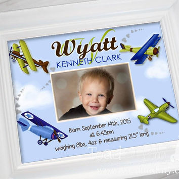Blue Green Boys Airplane Personalized Birth Information Mat WITHOUT FRAME - Great Baby Shower PM0009