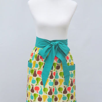Womens Half Apron,  Fruit Pear Apples Print, Turquoise Blue Green Trim, 100% Cotton, Vintage Style, Hostess, Birthday Shower Holiday Gift