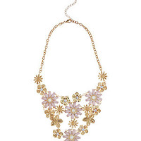 Shell Pink Opaque Flower Bib Necklace
