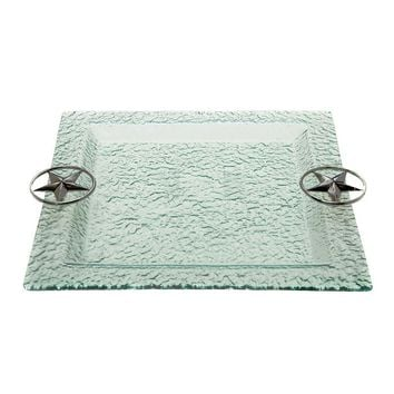 Thirstystone Western Star Hammered Glass Square Serving Tray (Clear)