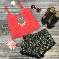 Lace Crop Top: Coral