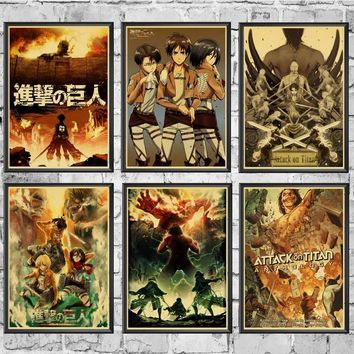 Cool Attack on Titan Japanese Anime  Retro poster For Home Living Room decoration Kraft Poster Painting Wall stickers Decals AT_90_11
