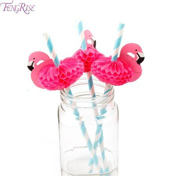 FENGRISE 12pcs Flamingo Paper Drinking Straws Wedding Decoration Baby Shower Birthday Celebration Hawaii Carnival Party Supplies
