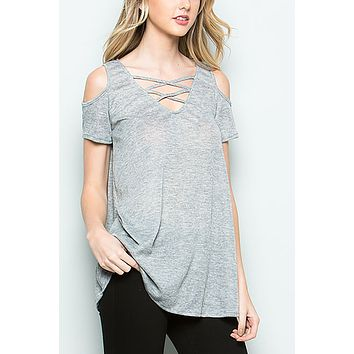 Space Dye Jersey Cold Shoulder Top