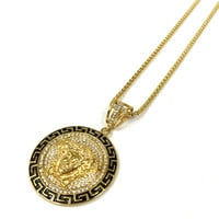 Stainless Steel Gold Iced Out Black and Gold Medusa Necklace