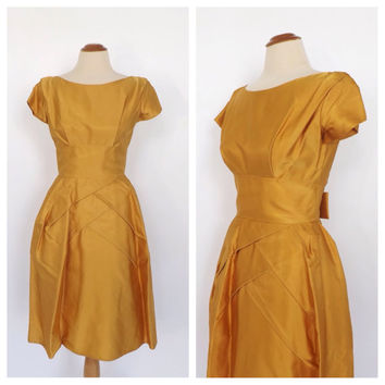 Vintage 1950's 60's Gold Yellow Satin Prom Gown Ballgown Party Dress Cocktail Tea Dress Bridesmaid Mad Men Cupcake Dress Princess Size Small