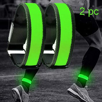 2 Pack Running Light Sports LED Wristbands Adjustable Glowing Bracelets for Runners Joggers Cyclists Riding Safety Bike Bicycle
