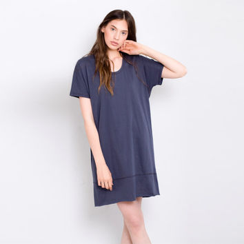 Short sleeved loose fit shift dark slate blue sundress