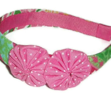 Colorful Fabric Headband with Fabric Rosettes Dots by xoribbons
