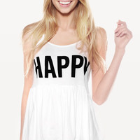 LIFE IS GOOD FESTIVAL TANK at Wildfox Couture in  - CLEAN BLACK, -CLEAN WHITE