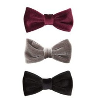 3 Pack Burgundy Grey and Black Velvet Bow Hair Clip