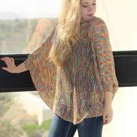 Multi Color Open Knit Sweater Oversized Sweater