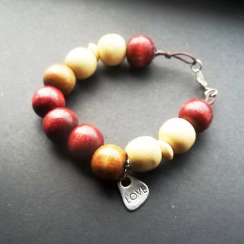 Love thy wooden beaded bracelet  large wooden beads by ACAmour