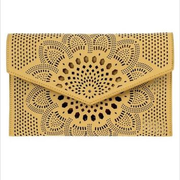 AGP Apparel Solid Laser Cut Clutch