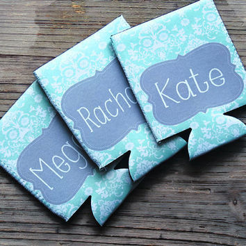bridal party koozie, wedding koozies, personalized koozies, beer can koozie, sports koozie, can hugger, monogrammed koozie, personalized