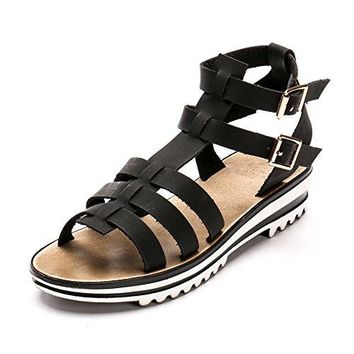 Alexis Leroy Spring Summer Woman Double Buckle Flat Sandals