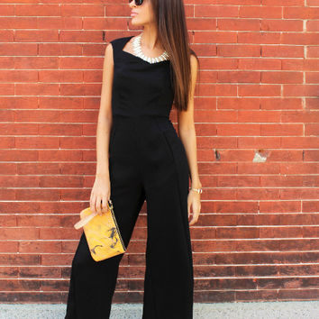 Cap Sleeve Key Hole Back Crepe Jumpsuit