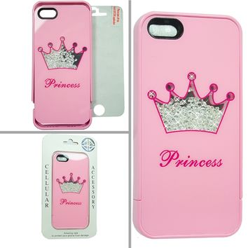Little Miss Princess In Pink iPhone 5 Loose Crystal Diamonds Phone Case