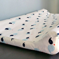 Navy & Blue Whale Print Changing Pad Cover