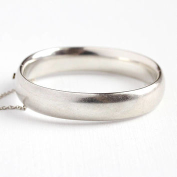 Vintage Silver Bangle - Retro Sterling Silver Hinged 60s Bracelet - 1960s Stacking Brushed Finish Plain Gift for Her Classic Jewelry