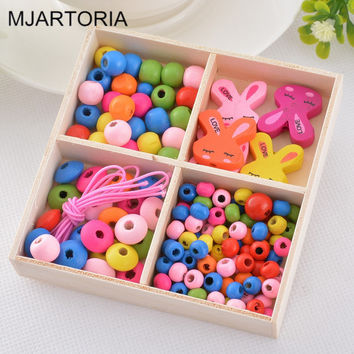 1Box Creative Multicolor Patterns Mixed Wooden Beads DIY Jewelry For Children Necklaces Bracelets Making Puzzle Handcraft Crafts