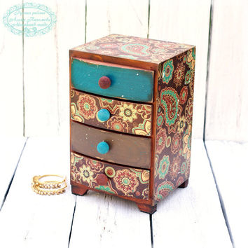 Turquoise and chocolate  wooden Mini chest drawers, Vintage look
