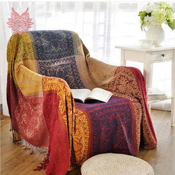 100%Chenille sofa cover sofa towel multi-color yarn dyed sofa/chair blanket slip-resistant vintage sofa cover Free ship SP1799