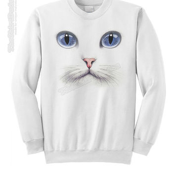 White cat with blue eyes - crewneck or hoodie sweatshirt - gift idea for animal lover gift full face kitten kitty meow whiskers pet owner