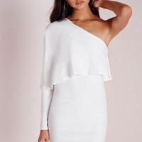 Missguided - Crepe One Shoulder Cape Dress White