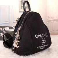 Chanel Women Fashion Canvas Satchel  Bookbag Backpack