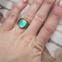 Mood Ring Heart Antique Brass adjustable